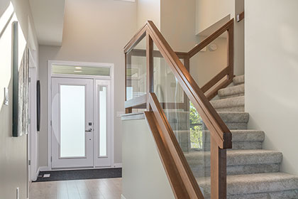 Front Entrance, Foyer and Staircase - 5 Erb Farm Road, Oak Bluff West | Avanti Custom Homes - Winnipeg - Manitoba